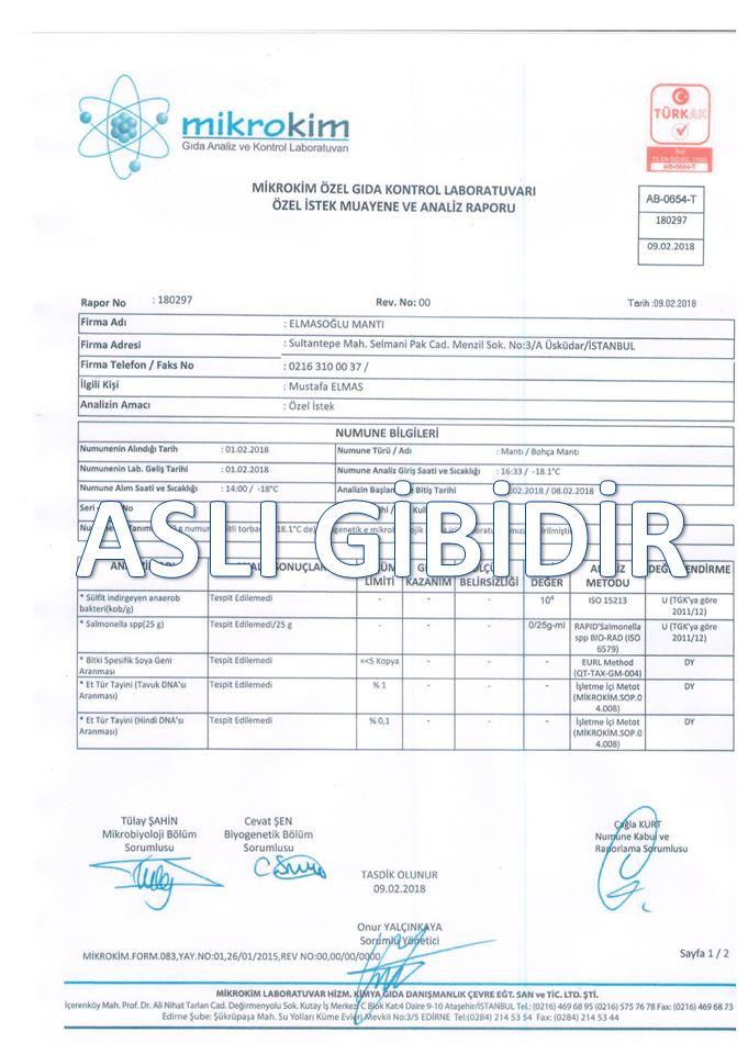 SALMONELLA BAKTERİSİ YOKTUR ANALİZ RAPORU ŞUBAT / 2018 1 El Yapımı Etli Mantı Üreticisi